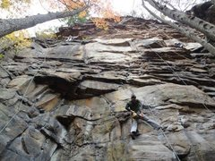 Rock Climbing Photo: Shady Lady (5.7, left) and Lieback and Enjoy It (5...