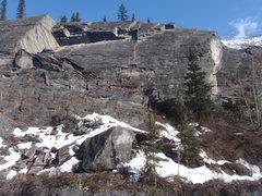 Rock Climbing Photo: Looking up at the Tsaina wall from across the rive...