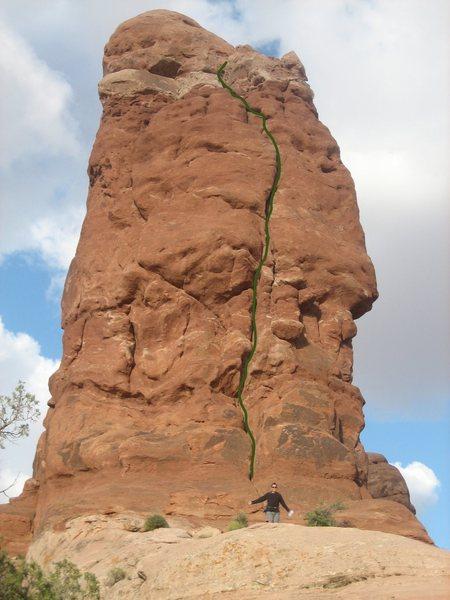 Rock Climbing Photo: Green line follows route