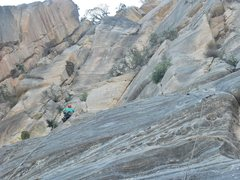 Rock Climbing Photo: Moving in below the upper headwall
