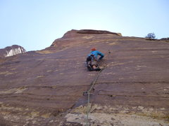 Rock Climbing Photo: Almost to the first bolt on Delicate Sound of Thun...