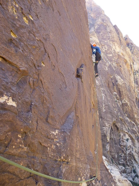 Rock Climbing Photo: Vitaliy on the arete of P2 of Delicate Sound of Th...
