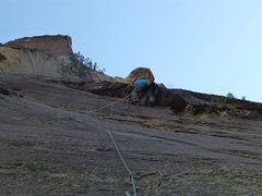 Rock Climbing Photo: Pulling the roof on Pitch 1 of Tales from the Grip...
