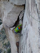 Rock Climbing Photo: Right before the bolted traverse on Pitch Two of T...