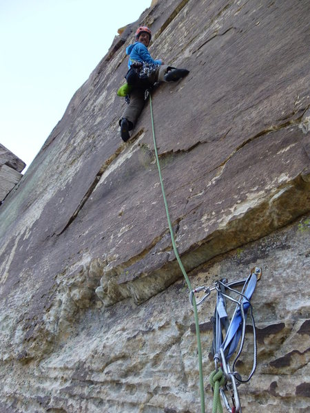 Psyched to clip the first bolt on the third pitch of Tales from the Gripped.