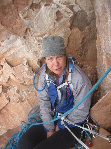 Third pitch  belay with Christine