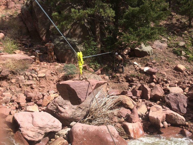 Rock Climbing Photo: Flying rocks across the creek