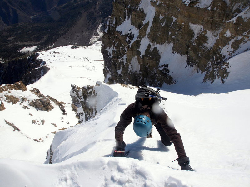 Steepest section of the couloir, near the summit ridge.