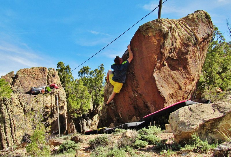 Rock Climbing Photo: Working the arete of Cursive. This move is likely ...