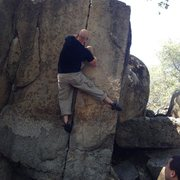 Rock Climbing Photo: Nemesis V2 finger crack at Deer Creek Park