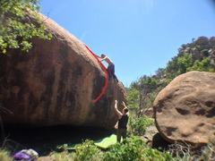 Rock Climbing Photo: Rhyan on the topout, Bloody Murder follows the red...