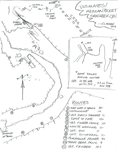 Route topo and my secret passage approach into the Ultimates from Newman Park exit of I-17. The log noted north of the parking (.8mi on 253G) is not there anymore though there is usually a cairn. If you are under powerlines you went too far. When hiking down the hill, aim for the 'treenis' off to your right (drawn on map) and faint trail will appear. Not all routes shown.