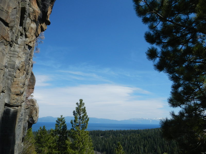 A view of Lake Tahoe from the crags.