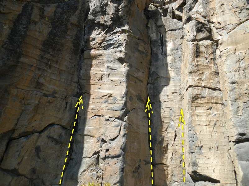 Rock Climbing Photo: Cornered is the leftmost route in the picture.  Th...