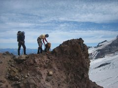 Right before stepping onto the Emmons Glacier, below Camp Schurman.