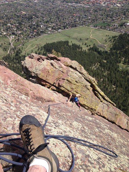 Meaghan follows the N Ridge.