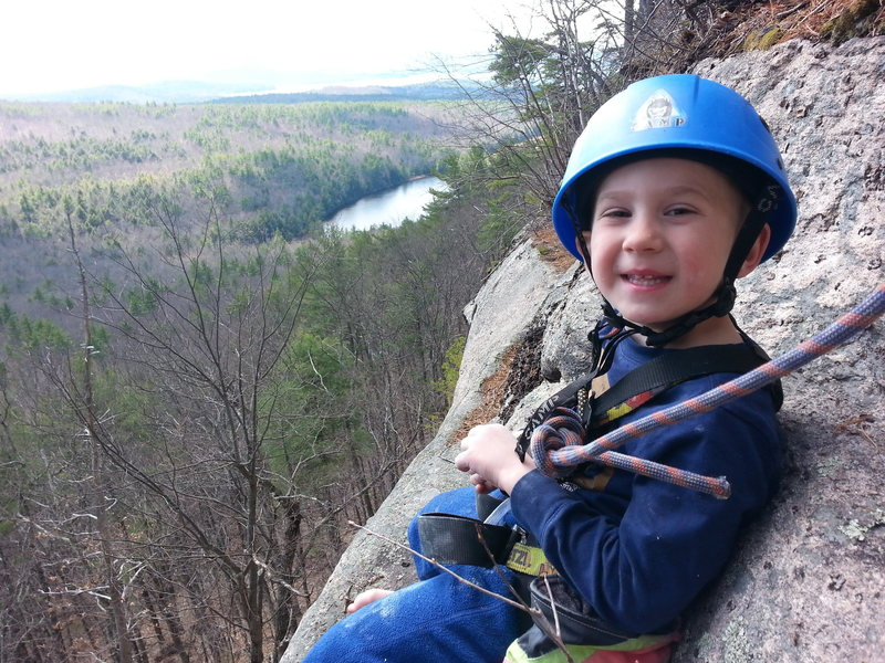Zackary at the first pitch belay <br>