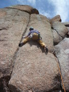 Rock Climbing Photo: Moving past the bolt.