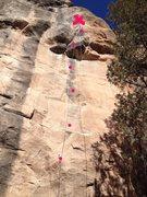 Climb bolt line straight up after 2nd bolt.