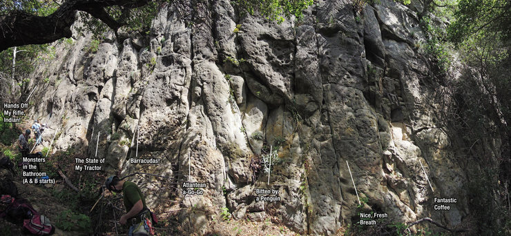 Rock Climbing Photo: Monsters is the furthest route left in the section...