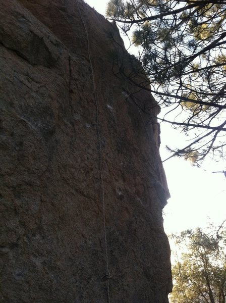 Climb slightly left of the rope shown.