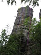 Rock Climbing Photo: Yellow: Miguello featuring Bär; Purple: Südriss;...