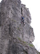 Rock Climbing Photo: A climber clipping the 2nd bolt in Nordriss.