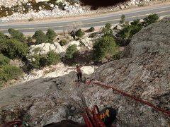 Rock Climbing Photo: At the top of the short pitch 4 waiting for Will t...