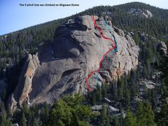Rock Climbing Photo: The red line indicates the route depicted in the H...