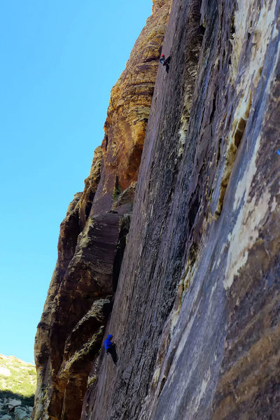 Climbers on Prince of Darkness. View from Fiddler. April, 2014.