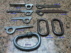 Rock Climbing Photo: Old iron pitons and steel carabiners from the 50s-...