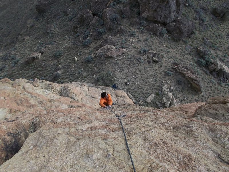 Alan Collins follows the second pitch (10+) on the first ascent of Adventure Dog.