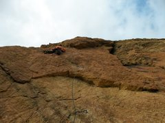 Rock Climbing Photo: Alan Collins leads the third pitch (10+) on the fi...