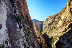 Rock Climbing Photo: About to enter traverse proper. April, 2014. Photo...