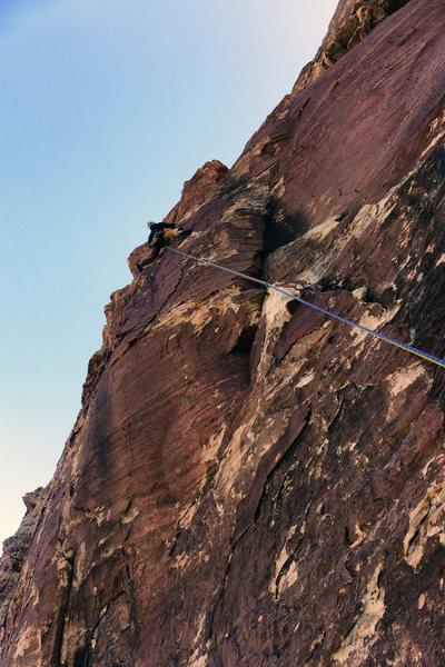 Rock Climbing Photo: Rock Warrior. Pitch 6. Darin Limvere. April, 2014.