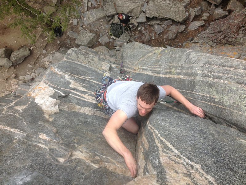 Jeff getting his second trad lead on the dagger