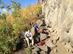 Rock Climbing Photo: Relaxing next to the wall in the ampitheater area ...