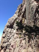 Rock Climbing Photo: The original line goes up the large chimney/flake ...