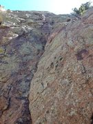 Rock Climbing Photo: Start of the 1st Pitch. Head up the corner and ang...