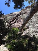 Rock Climbing Photo: P2 variation that heads straight up from the belay...