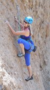 "Rock Climbing Photo: Pam working the slab, on ""Poke Salad Annie.&q..."