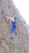 "Rock Climbing Photo: Pam grasping the knob of all knobs, on ""Poke ..."