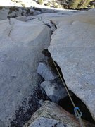 Rock Climbing Photo: Looking down on the double cracks, P6