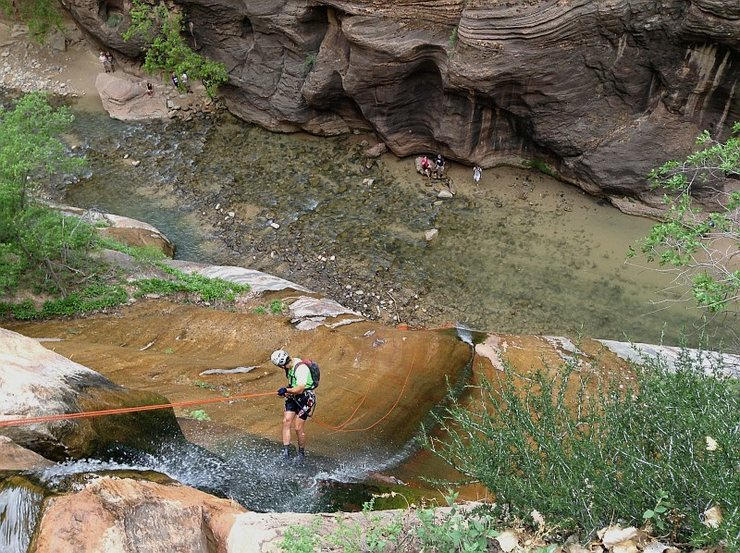 Descending instead of ascending, at the finish of Zion's Mystery Canyon, rapping down Mystery Falls into the Narrows.  Photo by Jamie.  5 May 2014.