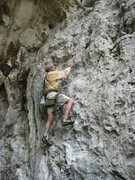 Rock Climbing Photo: George Hurley leading a new four bolt 5.7 route in...