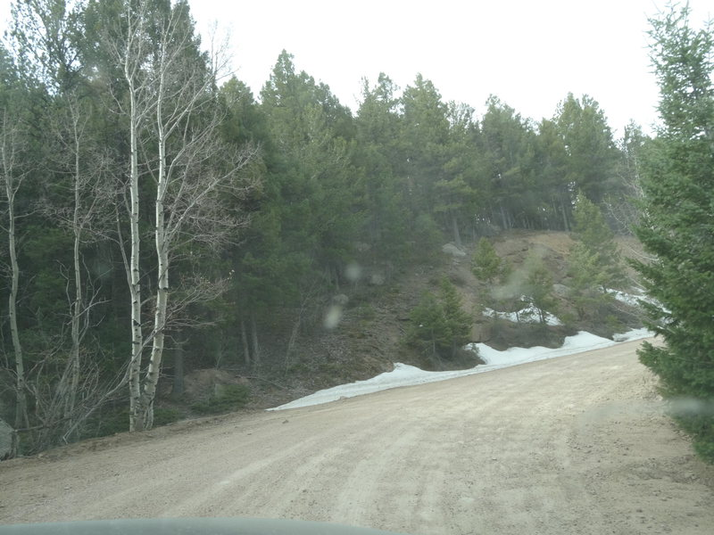 This is the monster snowpack that kept an entire mountain range closed to all recreational use in April 2014.  This picture literally shows ALL the snow that was left anywhere in the Rampart Range on the day the road opened.