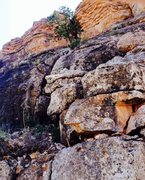 Rock Climbing Photo: Looking up the 5.5 second pitch variation. Chossy ...
