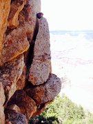 Rock Climbing Photo: Interesting balanced flake descending the south si...