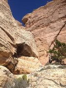 Rock Climbing Photo: Looking up the last pitch. The notch holds the chi...
