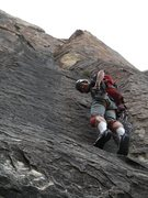 Rock Climbing Photo: Danny following the lovely P2 crack.